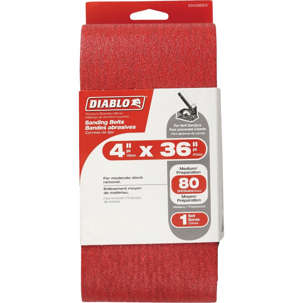 """Diablo DCB436080S01G 4x 4/"""" x 36/"""" Sanding Belt 80 Grit New"""