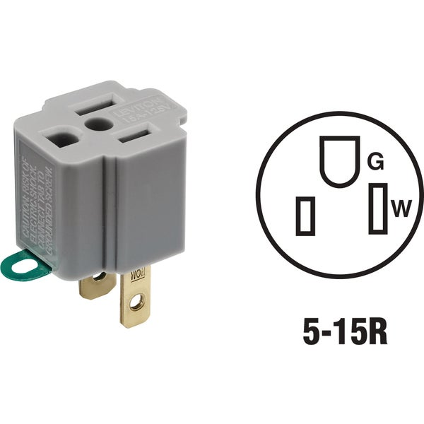 Leviton 028-274 Gray Outlet Adapter