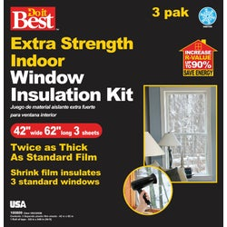 Item 100809, Extra strength indoor window insulation kit is twice as thick as standard