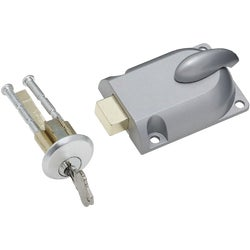 "Item 105335, Cylinder and lock case can be used on doors up to 1-3/4"" thick. Complete with 2 keys."