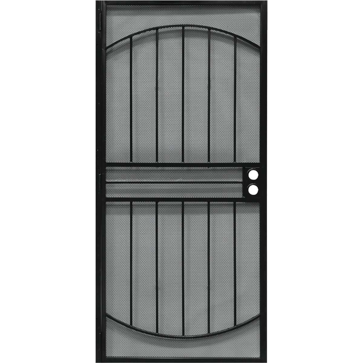 Item 160400, Steel security door powder coated with matching expanded steel mesh for added security.