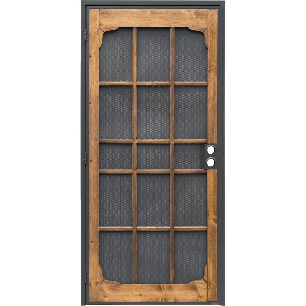 Item 160428, Steel security door power coated in bronze with matching 24 gauge perforated steel mesh for added security. Features 3/4-inch thick pine wood insert with a light oak stain.