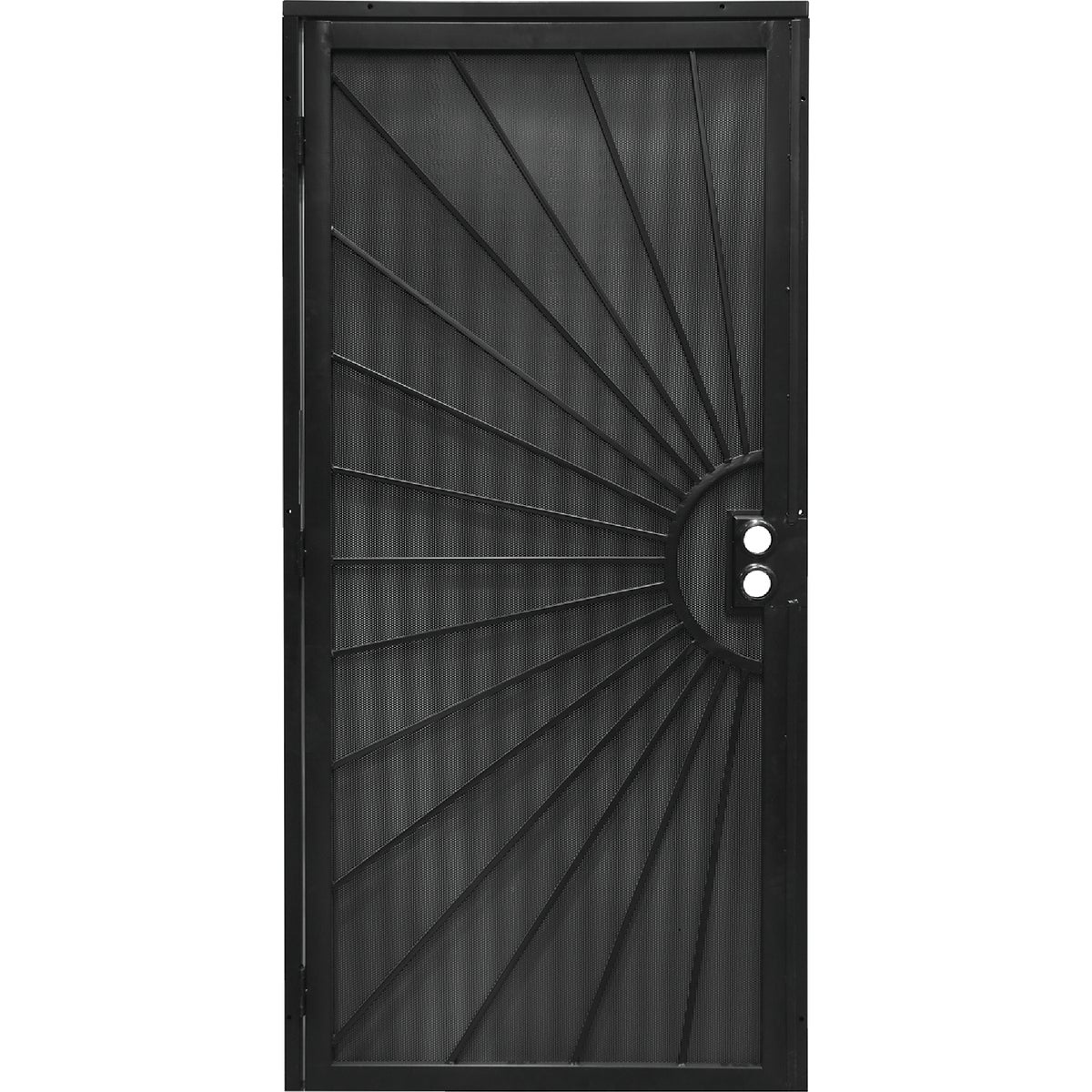Item 160433, Steel security door powder coated with matching 24-gauge perforated steel mesh for added security.
