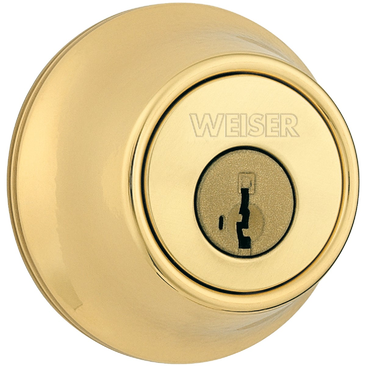 "Item 202952, Visual packaging. Weiser Elements brand. Single cylinder deadbolt has key access on the outside and turn piece on the inside of the deadbolt. Equipped with a full 1"" throw."