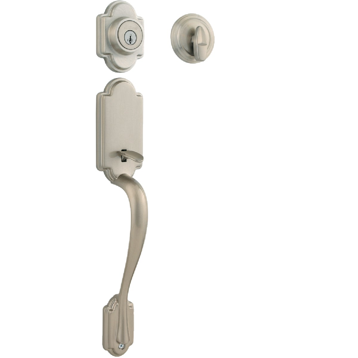 Item 211737, Arlington entry handleset with Tustin interior lever and SmartKey deadbolt. Satin nickel finish (15). SmartKey cylinder eliminates traditional pins and springs.
