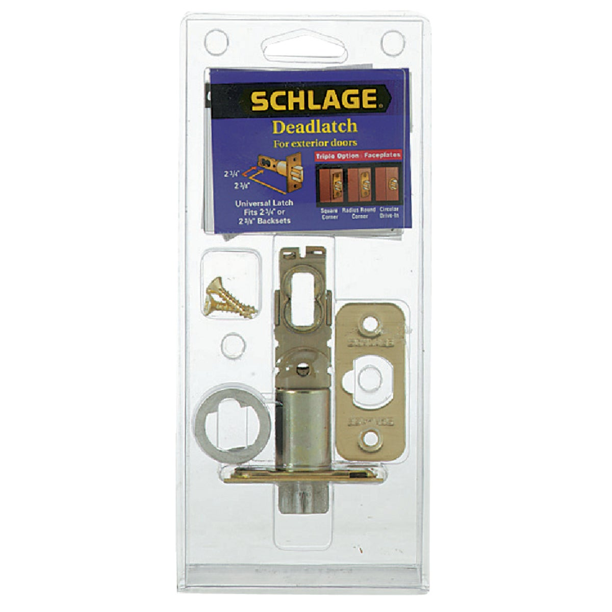 "Item 231789, Replaces 1"" square corner, 1/4"" round corner, or 1"" circular drive-in. For Schlage F series entry locksets. Adjustable backsets."