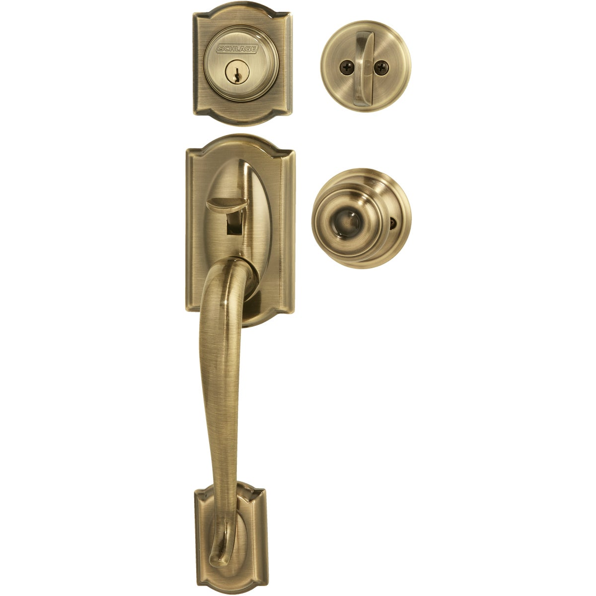 Item 241937, Camelot handleset with Georgian interior knob features an adjustable through-bolt for easy installation.