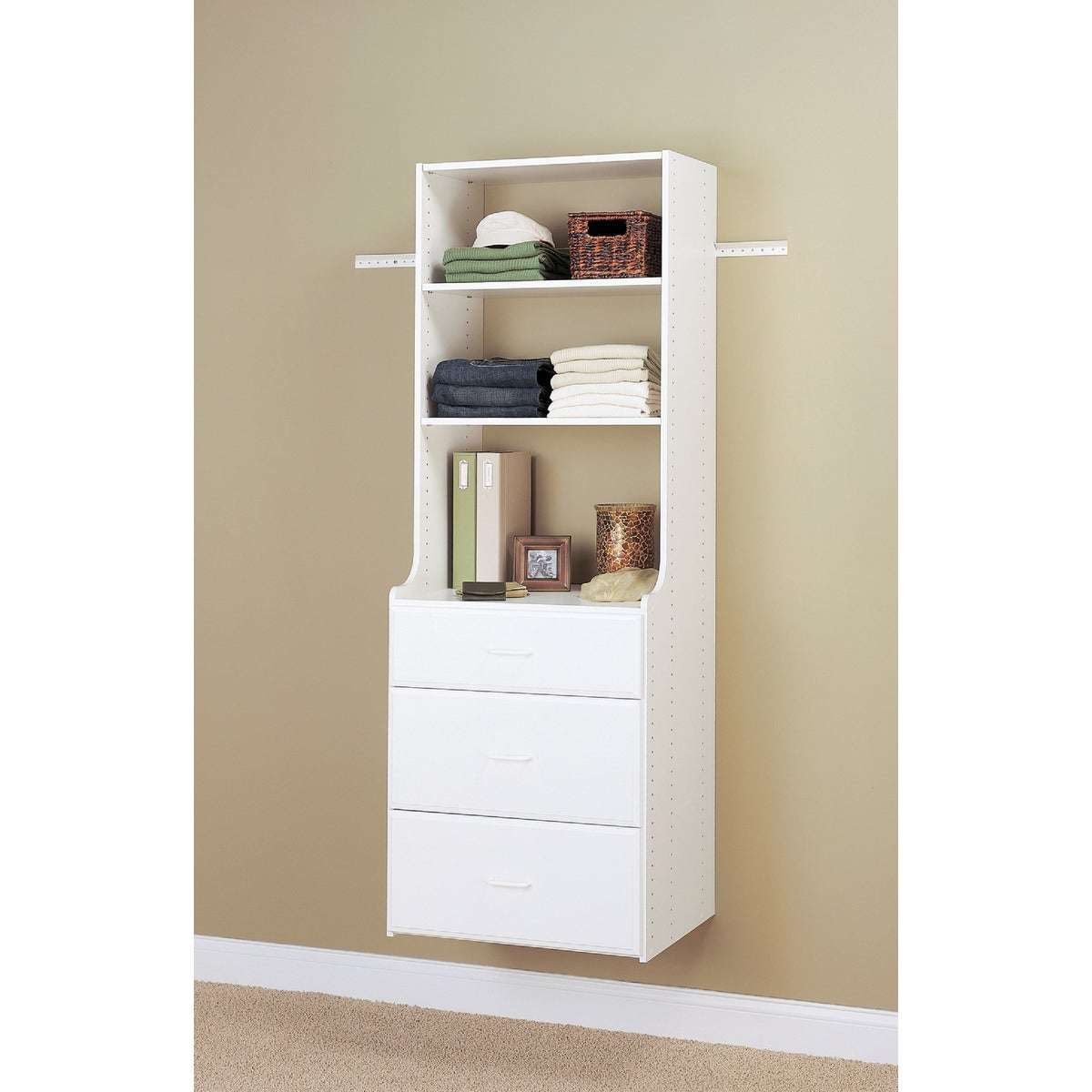 Item 242222, Hutch tower unit allows for deeper drawers, 14 In. deep on top and 19 In. below for increased storage capacity; includes (2) 72 In. Hutch vertical panels and 2 shelves.