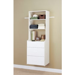 Item 242222, Hutch tower unit allows for deeper drawers, 14 In. deep on top and 19 In.
