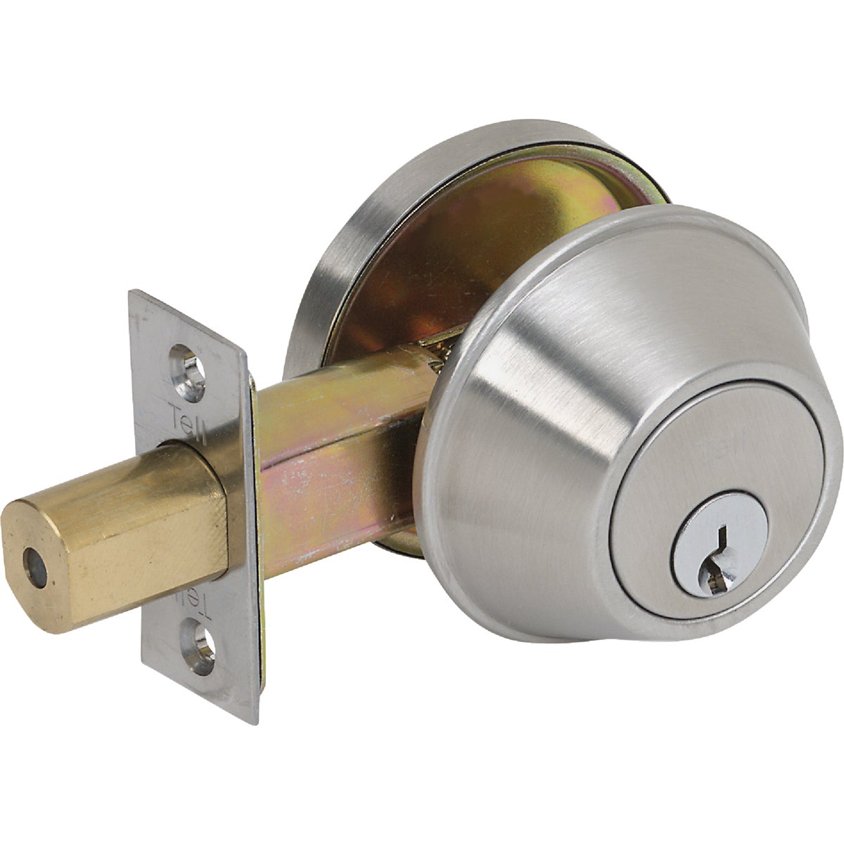 Item 243868, (DB2051). Standard duty commercial single cylinder deadbolt. Satin stainless steel (US32D). performance: Complies with ANSI A156.5, Grade 2 (150,000 cycles).