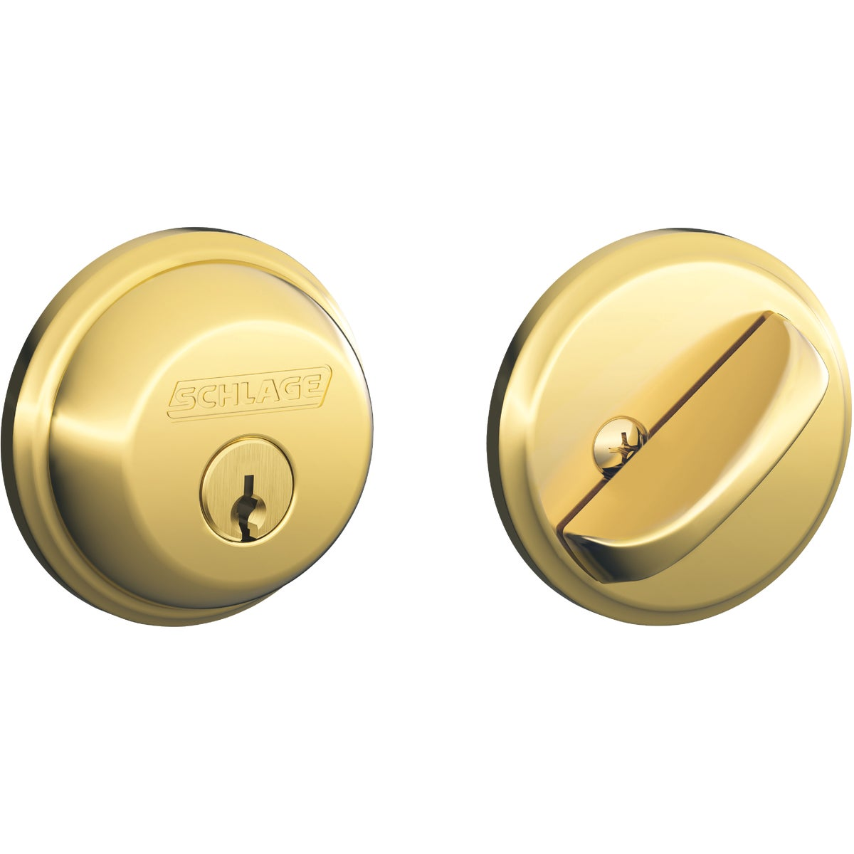 Item 254630, Box pack. Deadbolt thrown or retracted by key from outside or by inside turn piece. Bolt automatically deadlocks when fully thrown. Solid 1-piece design.