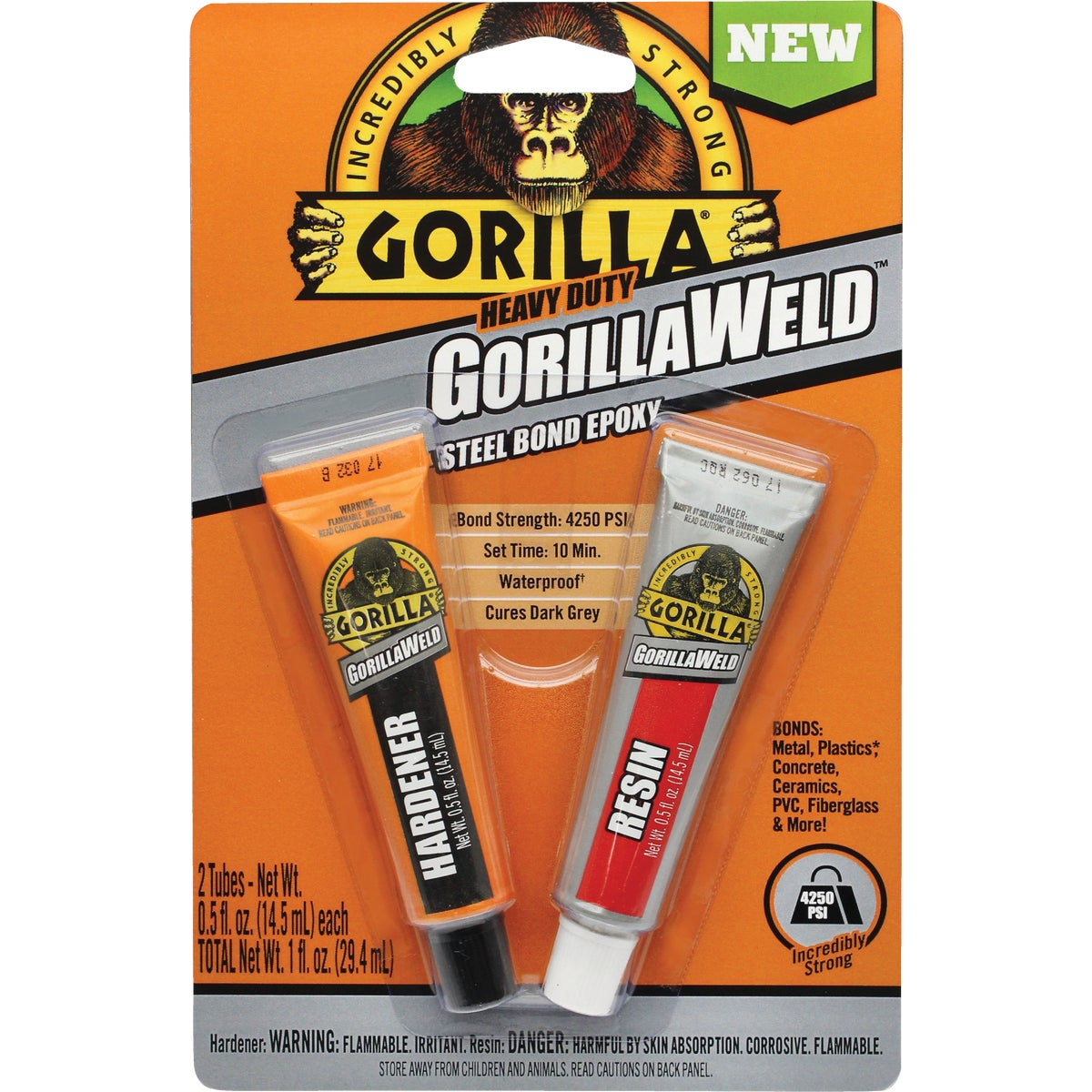 Item 301185, Heavy-duty GorillaWeld steel bond epoxy is an incredibly strong, two-part adhesive.
