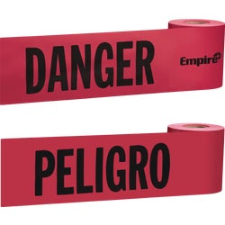 Item 308536, Red with black print for use in hazardous areas. Durable, nonadhesive, nonconductive plastic tape. Remains pliant in cold weather. Tape is reusable and sunfast.