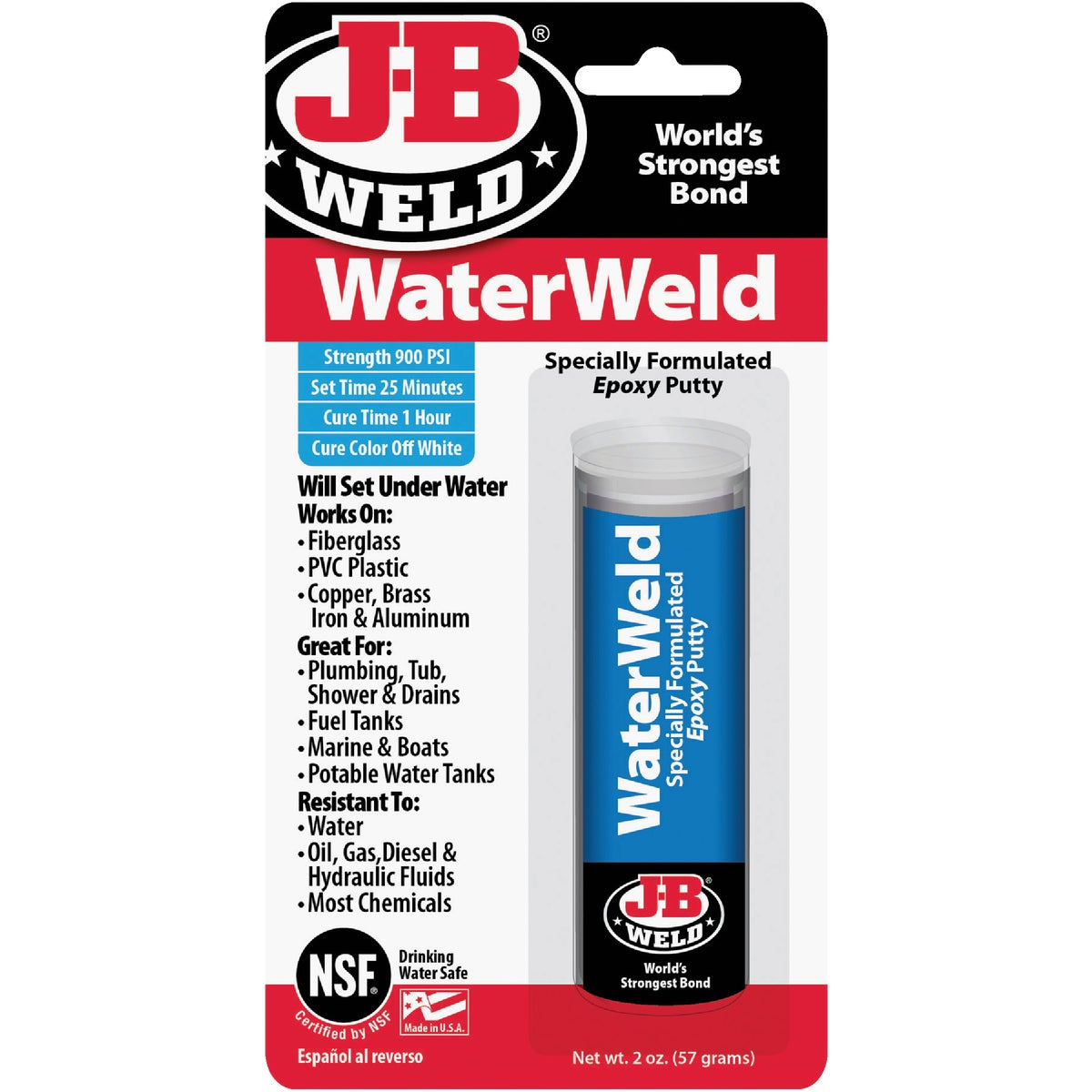 Item 320174, WaterWeld will plug or seal practically anything that leaks. It will patch holes and cracks, and mend almost anything that is broken.