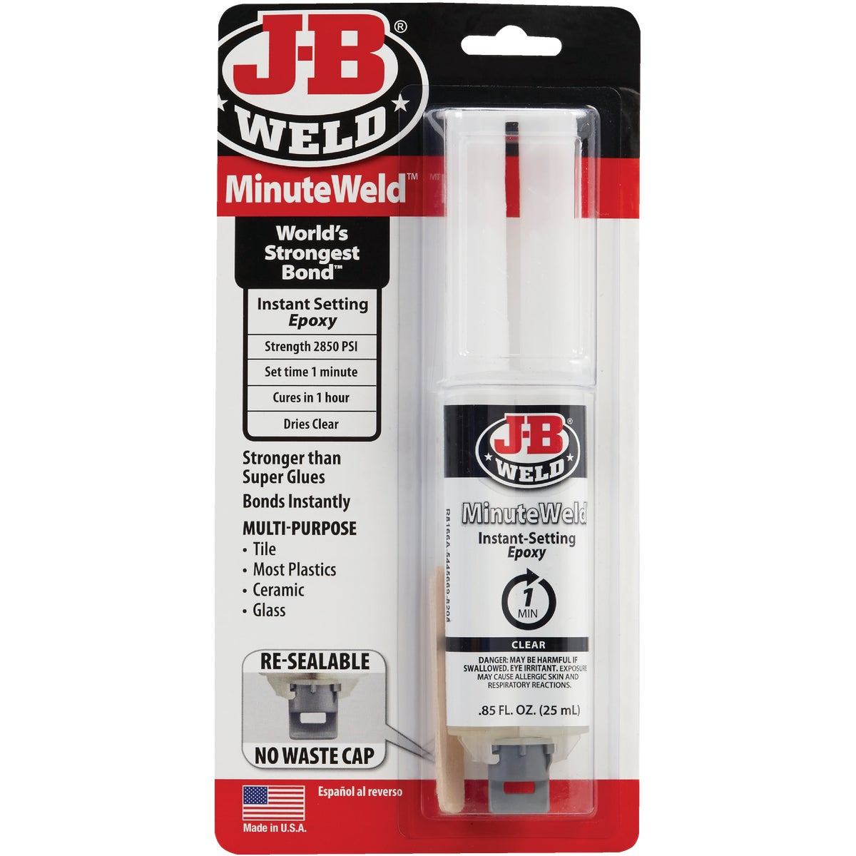 Item 331587, MinuteWeld is a specially formulated, high-strength, two-part instant setting epoxy. Will set under most temperature conditions in one minute.