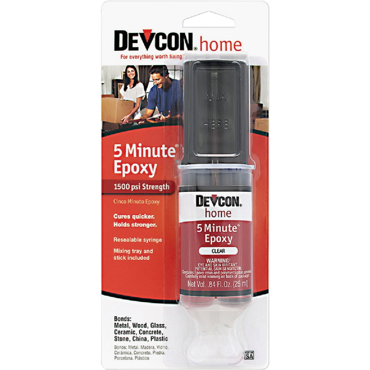 Item 353441, Makes clear, fast epoxy repairs. Works even in low temperatures. Bonds metals, wood, masonry, ceramic, china, and glass. 1 oz.