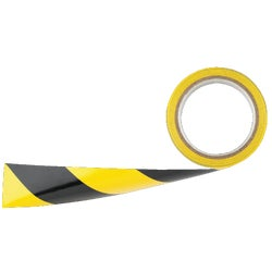 Item 360104, Yellow and black striped tape ideal for marking aisles. 6 mil. pressure sensitive PVC adhesive tape.