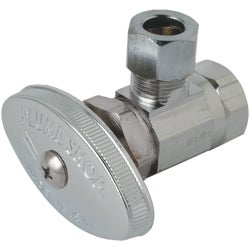 "Item 400294, Chrome-plated brass. 3/8"" F.I.P. inlet x 3/8"" O.D. tube outlet."
