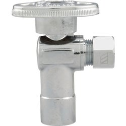 Item 400748, 1/4-turn angle valve controls water flow to household plumbing fixtures.