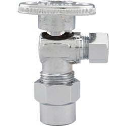 Item 400749, 1/4-turn angle valve controls water flow to household plumbing fixtures.