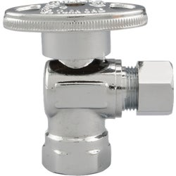 Item 400752, 1/4-turn angle valve controls water flow to household plumbing fixtures.