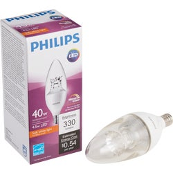 Item 501203, LED (light emitting diode) blunt tip light bulb with Warm Glow light effect