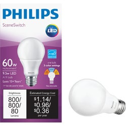 Item 501731, Philips SceneSwitch LED (light emitting diode) light bulb with medium base