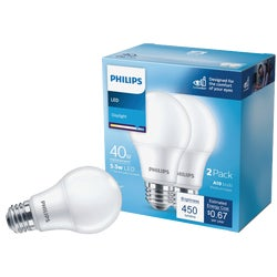 Item 501760, Philips LED (light emitting diode) A19 light bulb with medium base.
