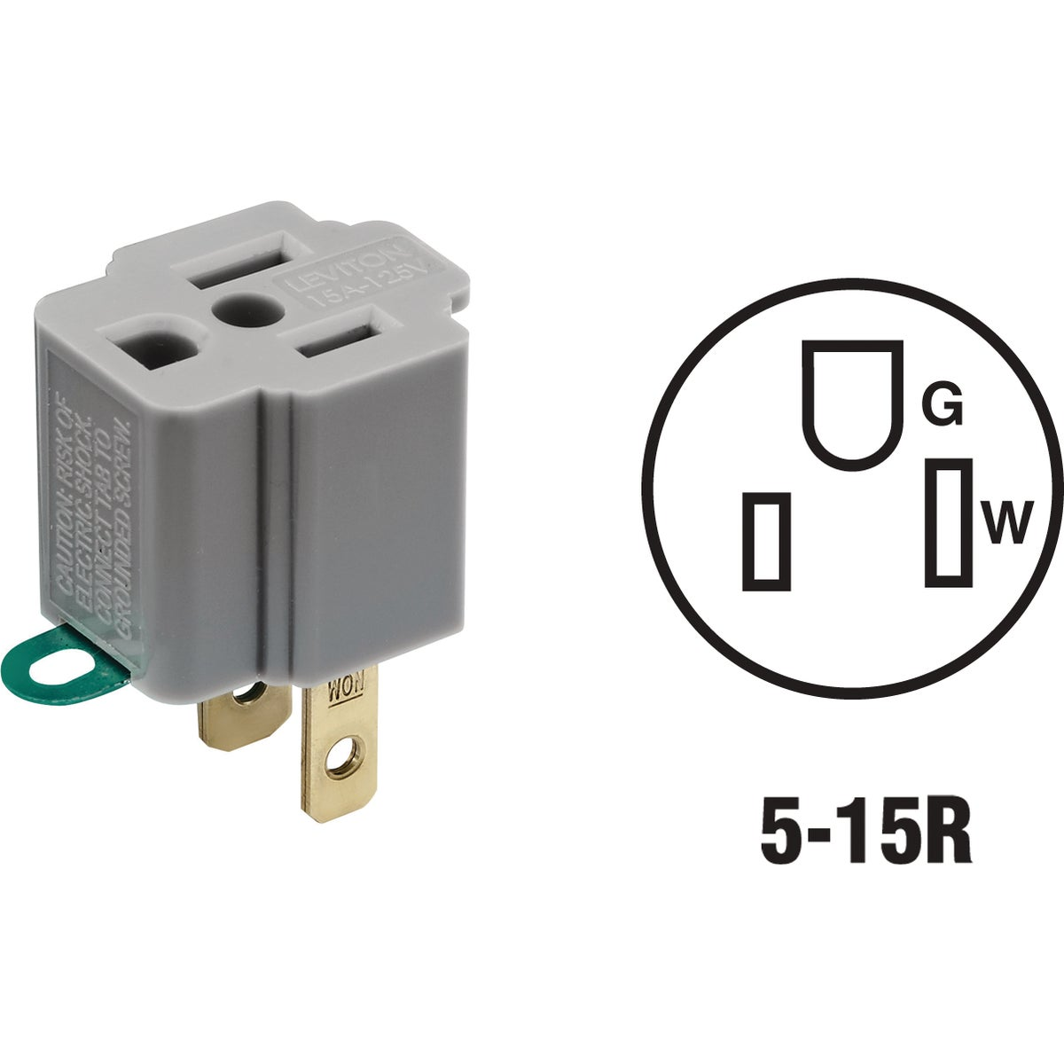 Item 504010, Converts outlet for 2-prong plugs to outlet for 3-prong grounding plugs. 15A/125V. Gray.