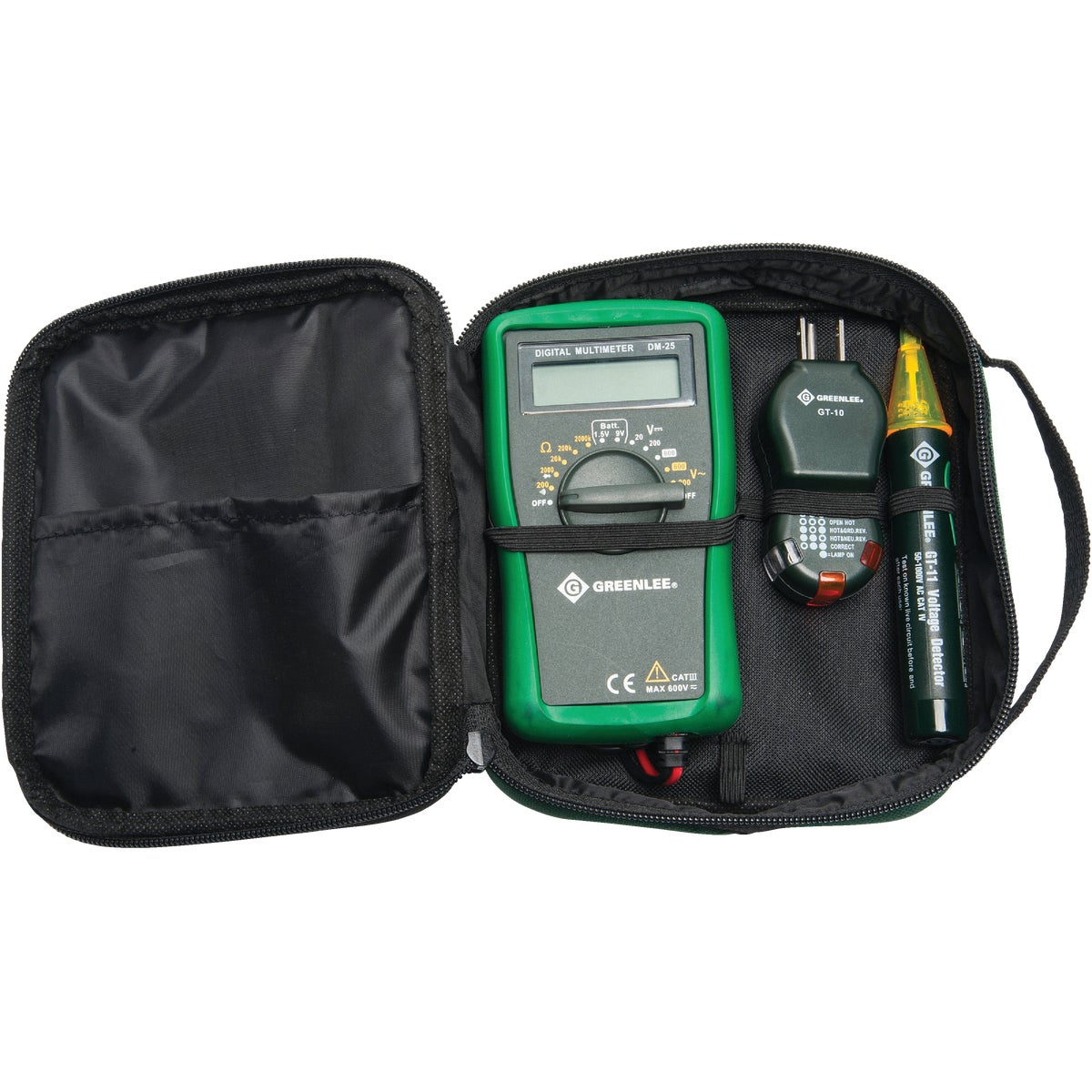 Item 511020, Basic electrical kit includes 1 each of the following items: Model No. DM-20 manual ranging multimeter, Model No. GT-10 polarity cube, Model No.
