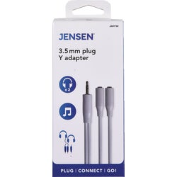 Item 516748, 3.5mm plug Y-adapter. 3-inch cable connects 2 headphones to a single 3.
