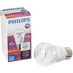Item 525033, A15 dimmable LED (light emitting diode) light bulb with medium base.