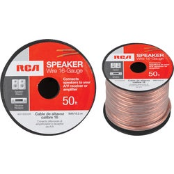 Item 539805, 16-gauge speaker wire ideal for connecting speakers to amplifiers or