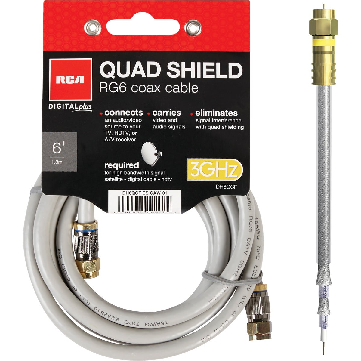 Item 561118, The Digital Plus quad RG6 coaxial cable is a quality digital cable that connects any antenna, PVR, VCR, HDTV, cable box, or satellite receiver.