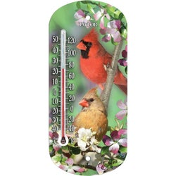 "Item 600114, 8"" suction cup Cardinal themed thermometer has a quality precision tube"