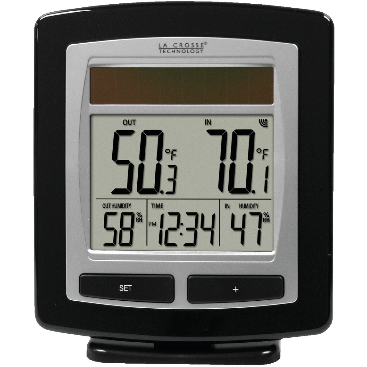 Item 600373, Solar-powered temperature and humidity station with solar sensor. Base unit receives solar energy allowing for longer battery life.