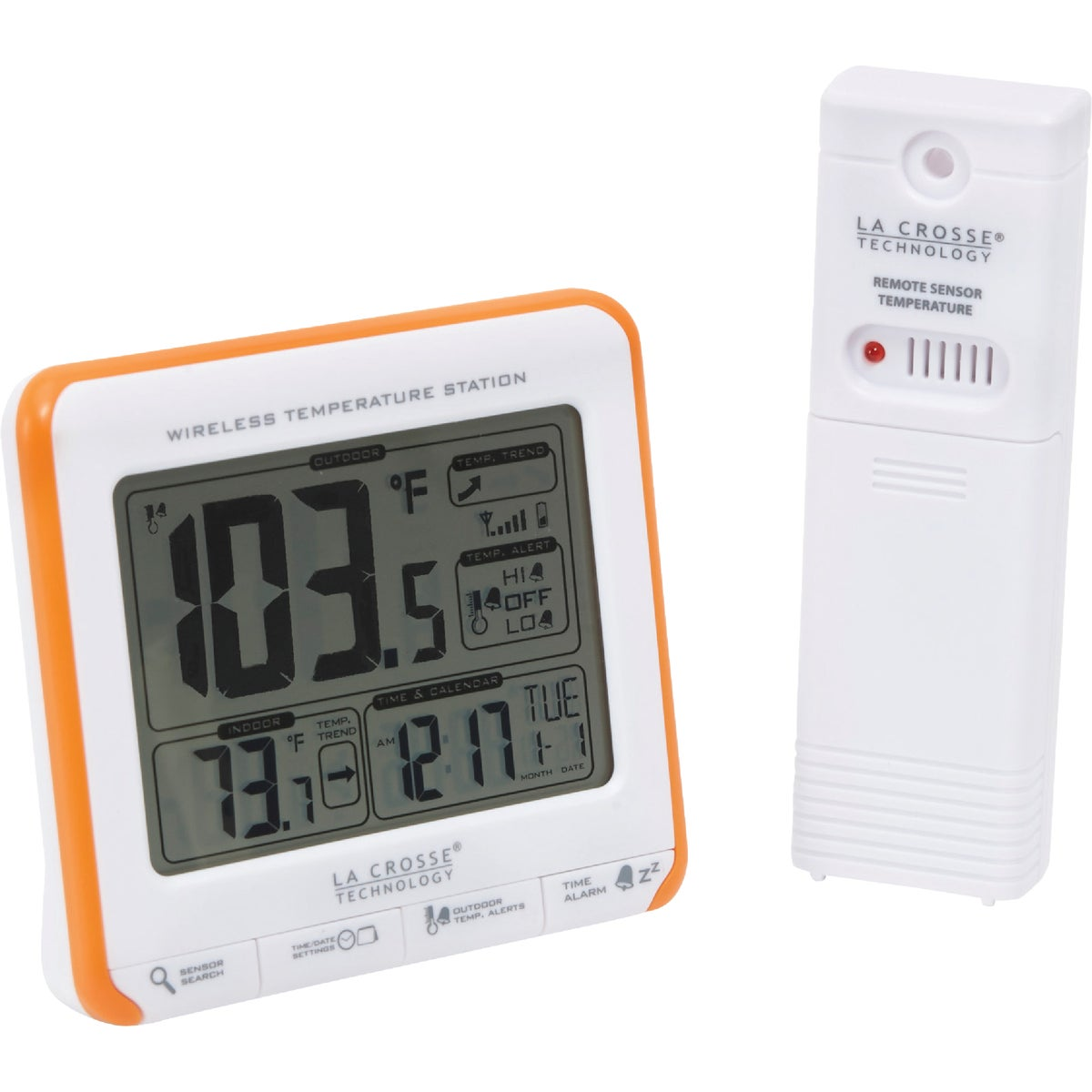 Item 602035, Indoor/outdoor temperature is displayed in large, easy-to-read digits. Set high and low outdoor temperature alerts. 12/24 hour time display with snooze alarm and calendar.