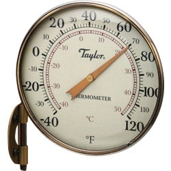 Item 602290, Weatherproof indoor/outdoor thermometer is made of anodized aluminum and