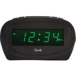 Item 603196, Green LED alarm clock features PM & Alarm On indicator, 9 minute snooze,