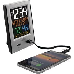 Item 603258, Multi-color digital alarm has 2 USB charging ports - 1A with charging icons