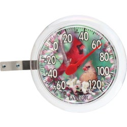 "Item 603473, New, round shape featuring 2 birds. 6"" dial thermometer. Clear bezel."