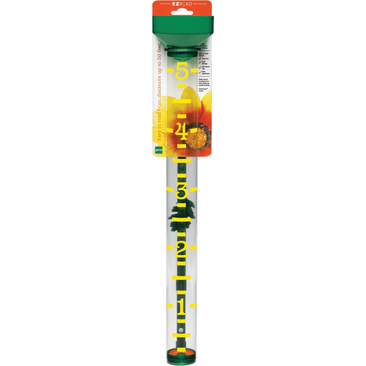 Item 607445, Jumbo size. Bright yellow markings with clear tube. High visibility float. Water magnification. Precisely calibrated for true readings. Easy-to-read from distances up to 50'.