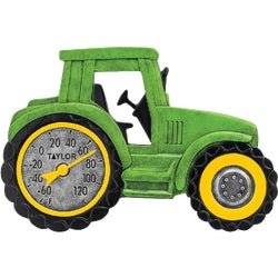 Item 607523, Green tractor thermometer is constructed of weather resistant resin for