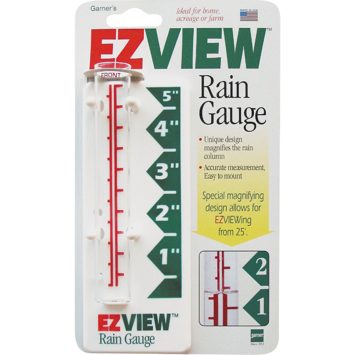 Item 617687, Unique design magnifies the rain column. Accurate measurement. easy-to-mount. Ideal for home, acreage, or farm.