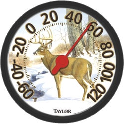 "Item 626058, In The Storm - white tail deer - 13-1/2"" molded dial design with stylish,"