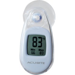 Item 632562, Strong suction-cup cling, indoor or outdoor thermometer.