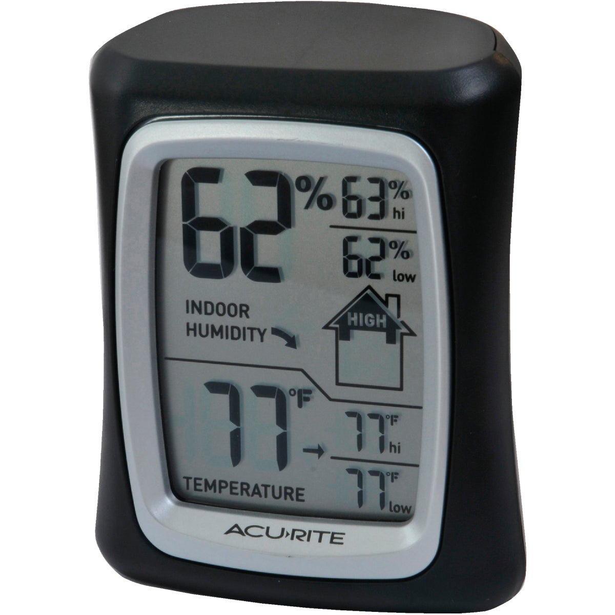 Item 632732, Monitor indoor humidity, daily highs, lows, and indoor Comfort House icon - low, high, or OK. Humidity range 20% to 95% RH.