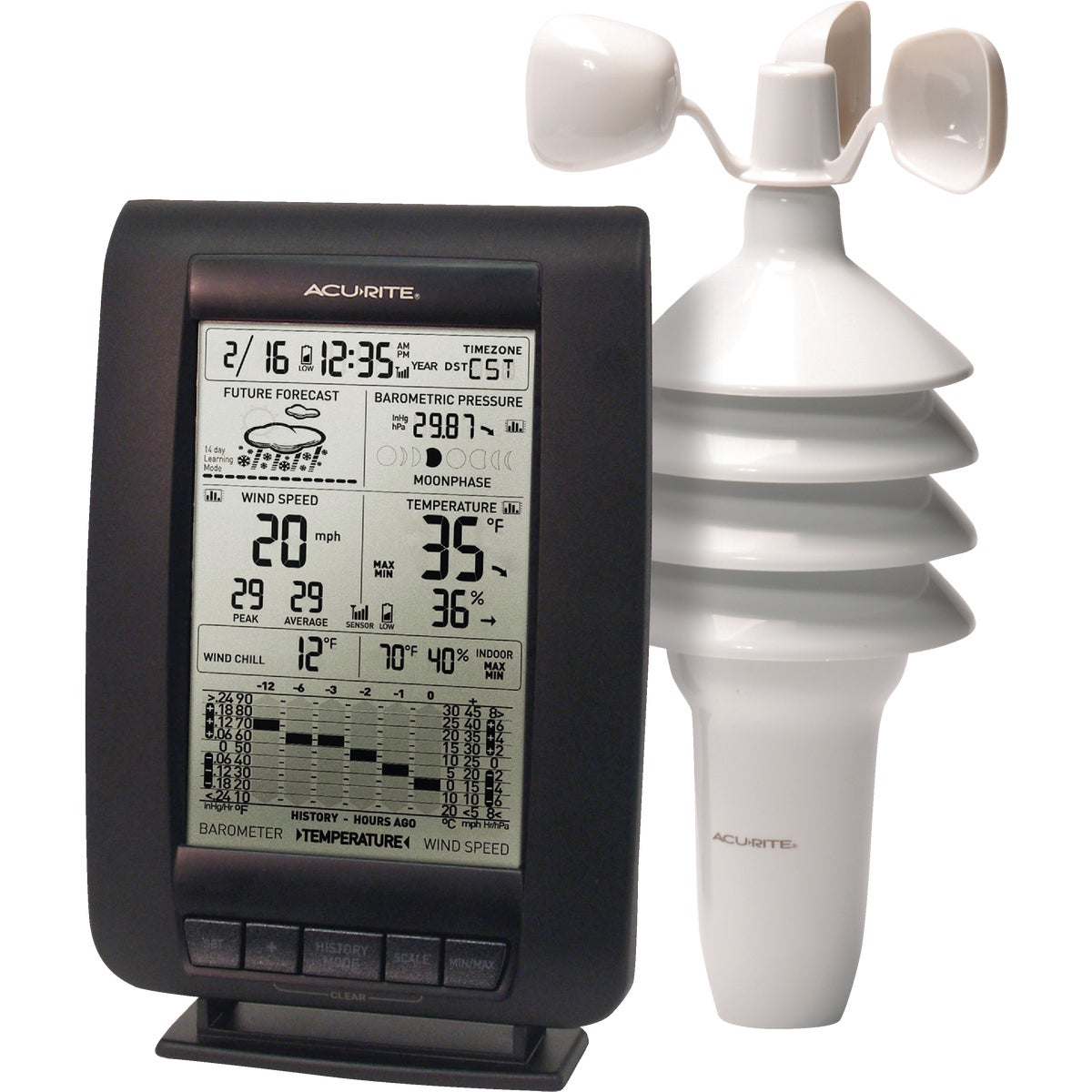 Item 650178, Deluxe wireless weather center, 3-in-1 wireless sensor. Easy set up. Indoor/outdoor temperature with trend arrows. Wind speed/gust/chill.