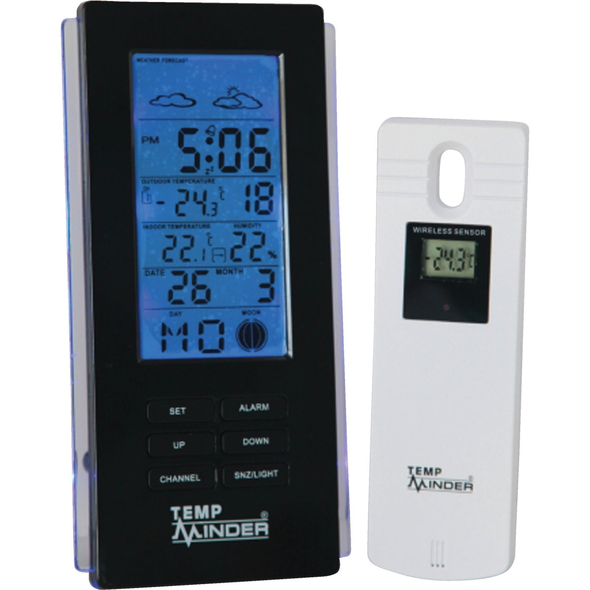 Item 650208, Easy-to-read LCD (liquid crystal display) with ultra blue LED (light emitting diode) back-light. Indoor thermometer and hygrometer Fahrenheit or Celsius selectable.