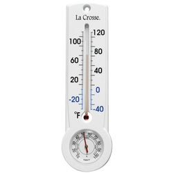 Item 650212, Measures temperature and humidity. Mercury-free, weatherproof thermometer.